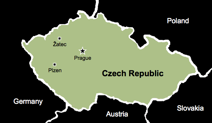 A map of the Czech Republic showing Zatec and Plzen